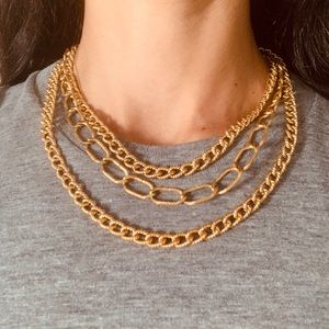Monet triple layer gold tone chain necklace